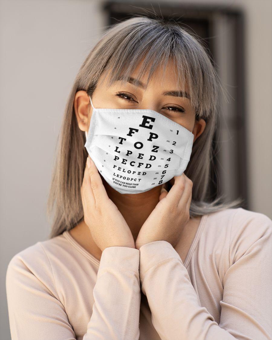 Eye chart close face mask