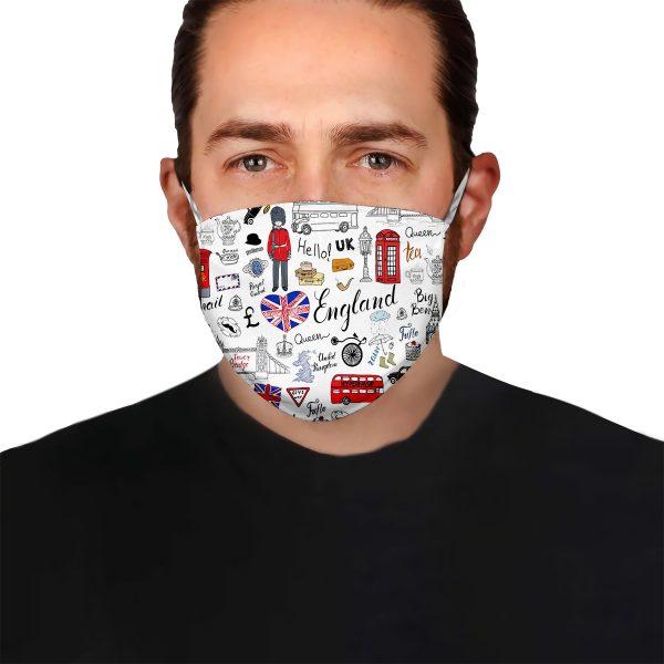 I love england doodle face mask