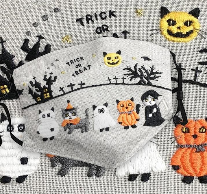 Cat HaCat Halloween Trick or treat as embroidered face masklloween Trick or treat as embroidered face mask