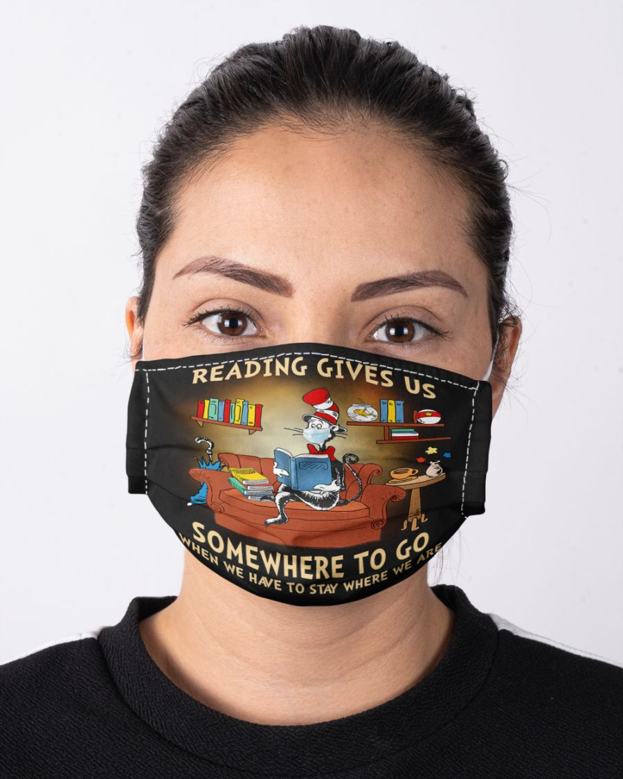 Dr. Seuss Cat Reading gives us somewhere to go when we have to stay where we are face mask