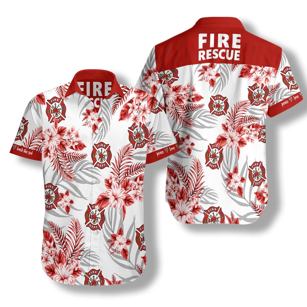 Firefighter fire rescue hawaiian shirt
