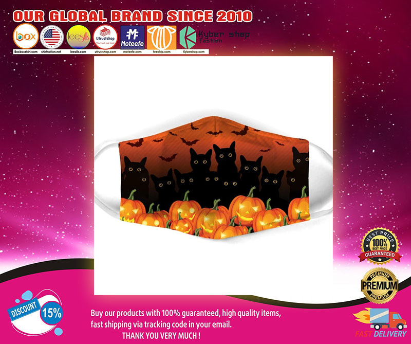 Halloween Black Cat all over prints face mask1