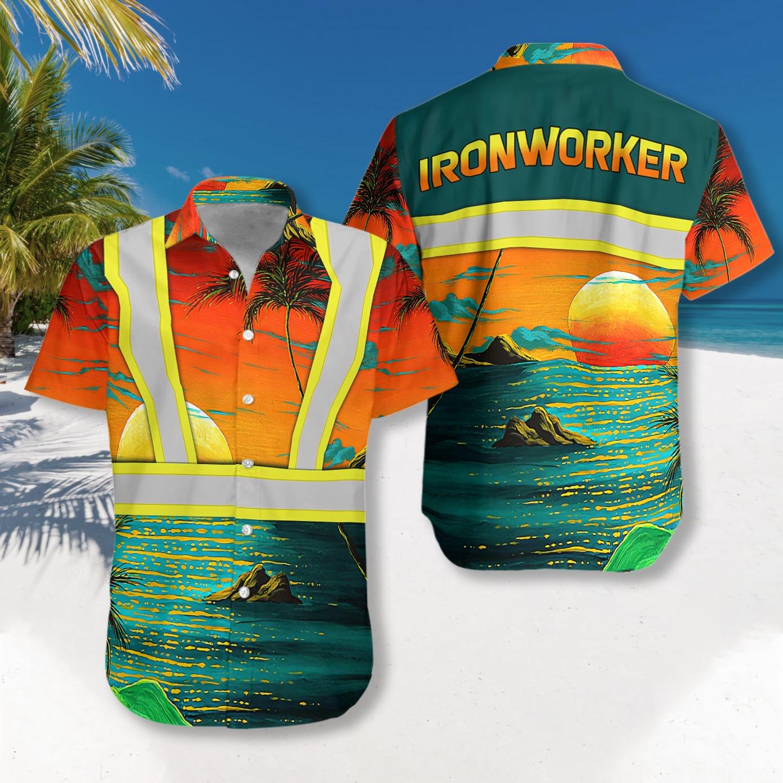 Ironworker safety hawaiian shirt