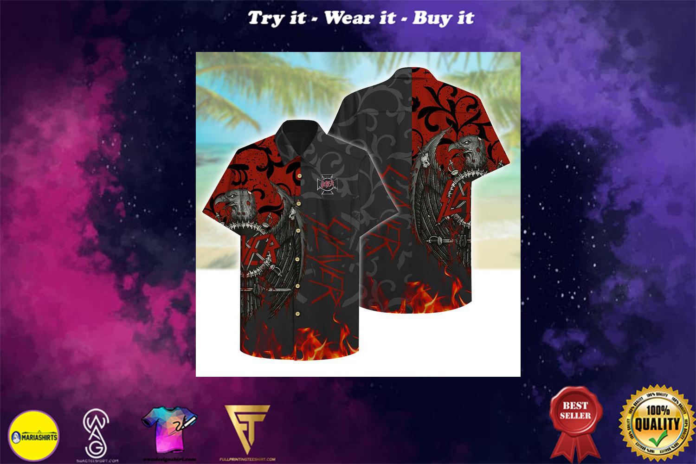 [special edition] Slayer rockband aloha tropical full printing hawaiian shirt - Maria