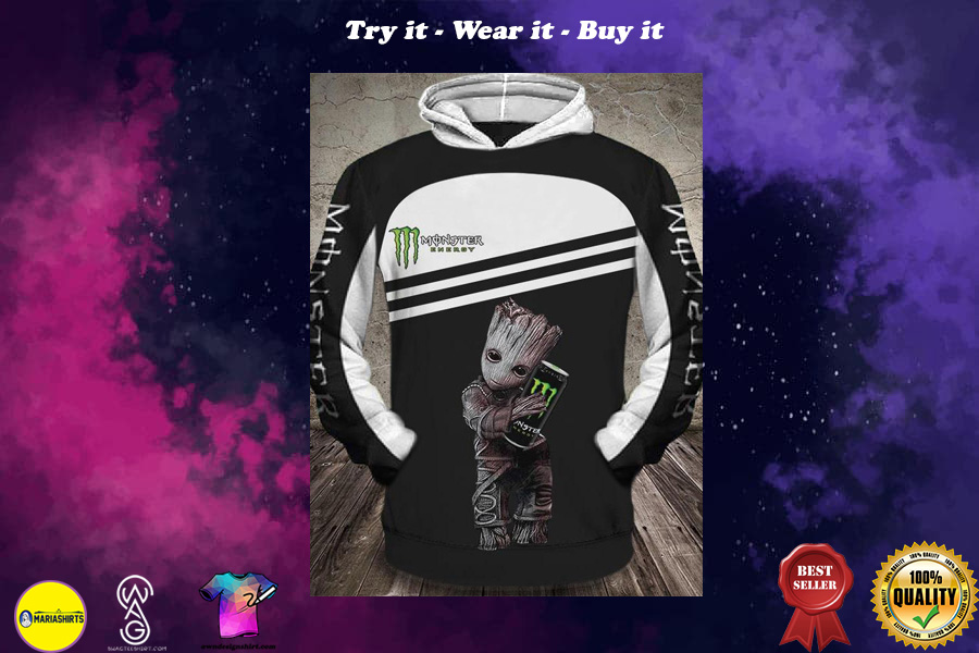 [special edition] baby groot hugs monster energy green all over printed shirt - maria