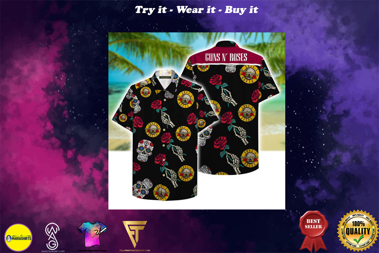 [special edition] guns n roses and sugar skull aloha tropical full printing hawaiian shirt - Maria