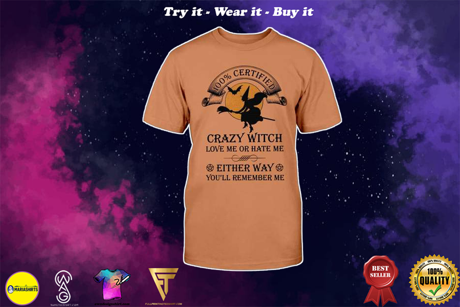 [special edition] halloween 100% certified crazy witch love me or hate me shirt - Maria