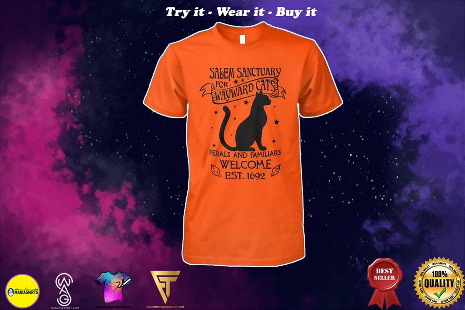 [special edition] halloween salem sanctuary for wayward cats ferals and familiars welcome est 1692 shirt - Maria