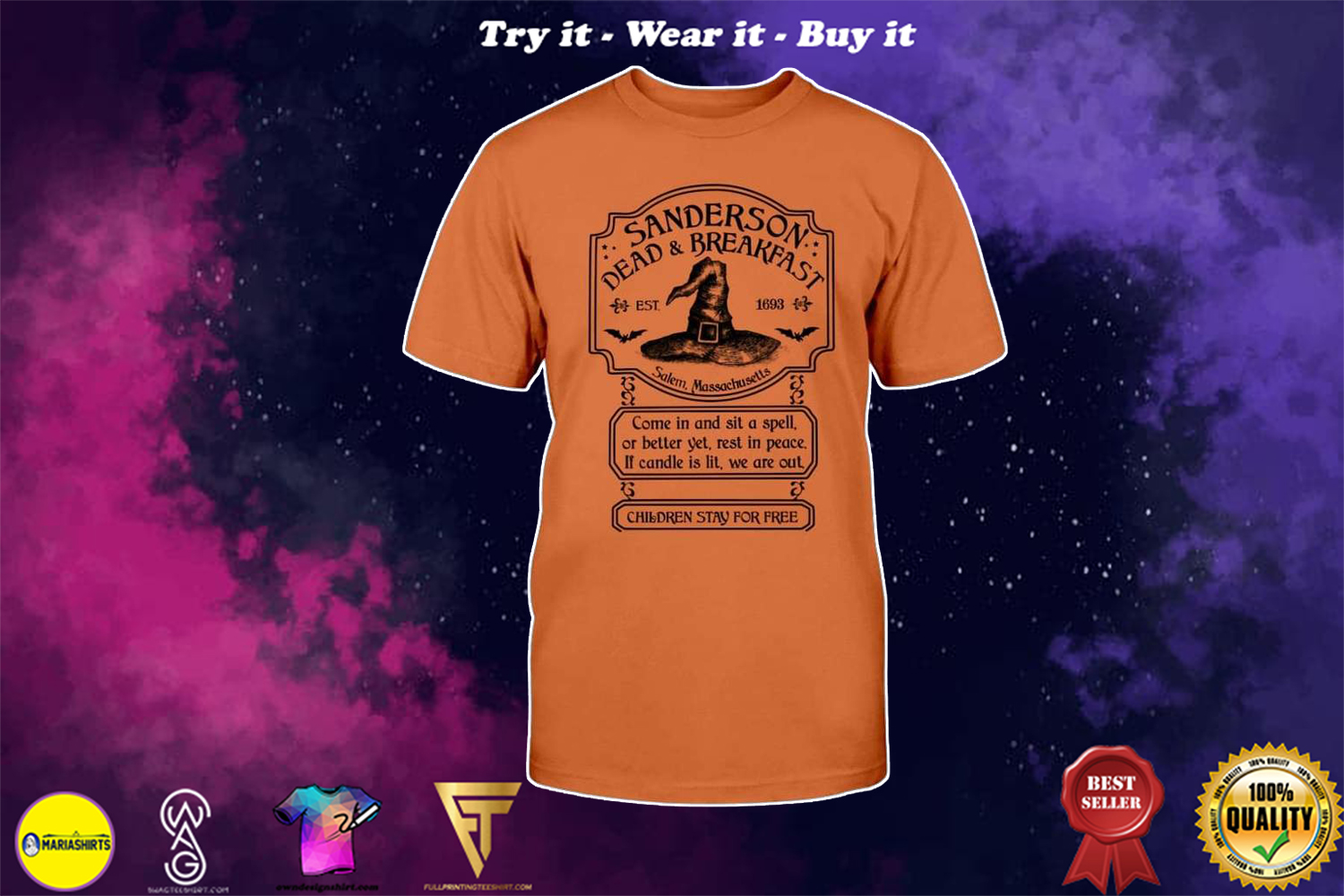 [special edition] halloween sanderson dead and breakfast witch hat shirt - Maria