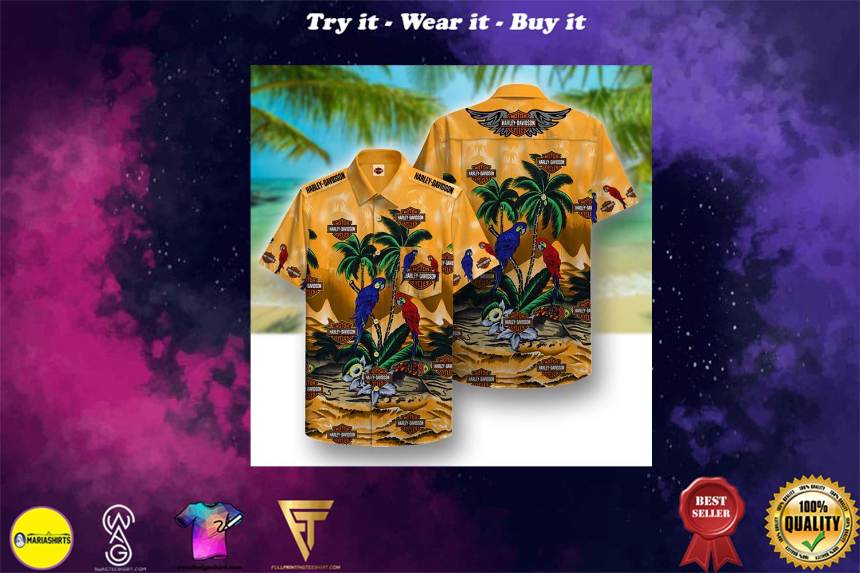 [special edition] harley-davidson motorcycles parrot full printing hawaiian shirt - Maria