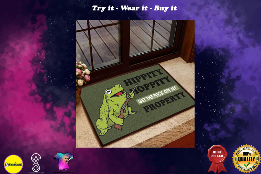 [special edition] hippity hoppity get off my property frog with the gun doormat - maria