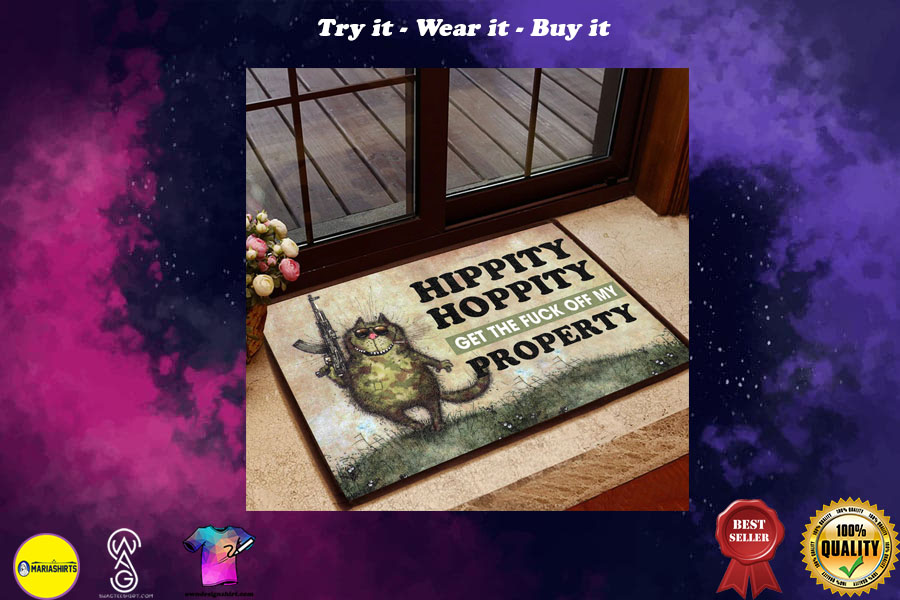 [special edition] hippity hoppity get off our property cat doormat - maria