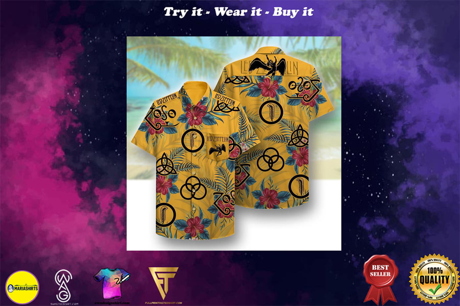 [special edition] led zeppelin all over printed hawaiian shirt - Maria