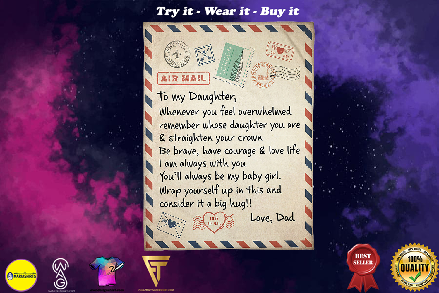 [special edition] letter to my daughter whenever you feel overwhelmed love dad blanket - maria