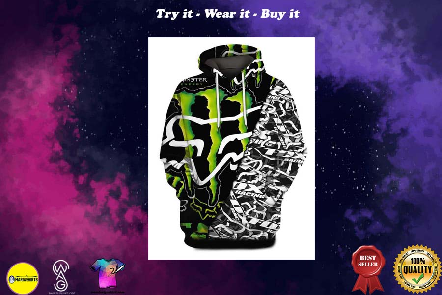 [special edition] monster energy and fox racing symbol full printing shirt - maria