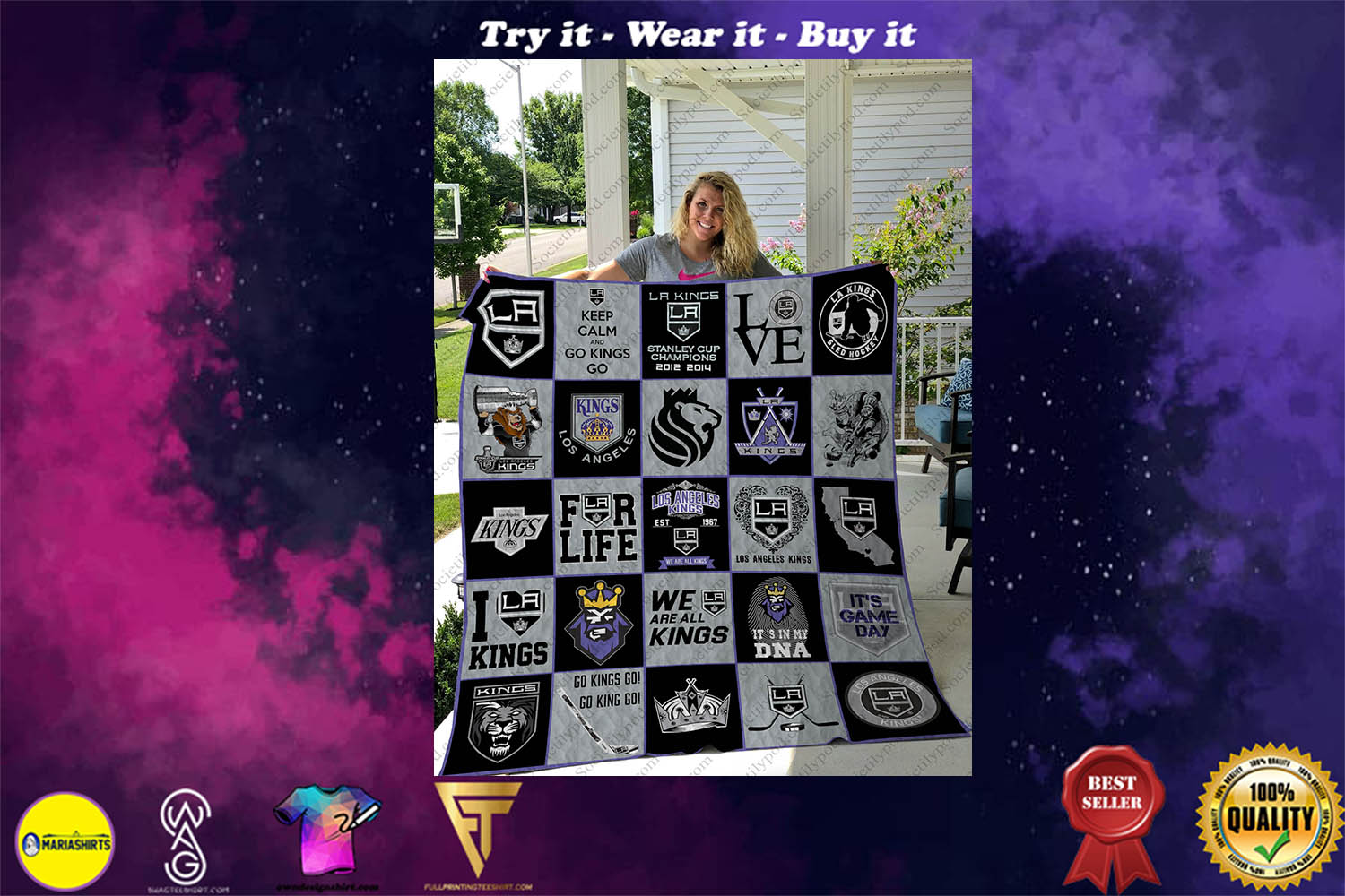 [special edition] nhl los angeles kings full printing quilt - maria