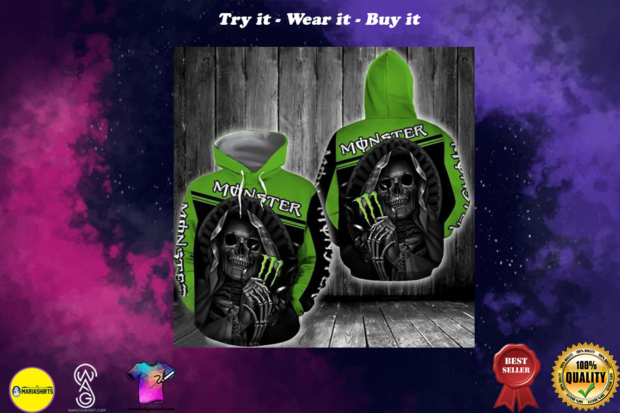 [special edition] the death skull hug monster energy green all over printed shirt - maria