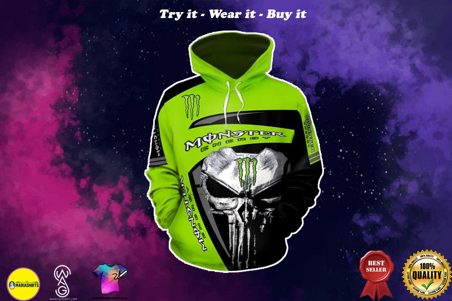 [special edition] the skull and monster energy green symbol all over printed shirt - maria
