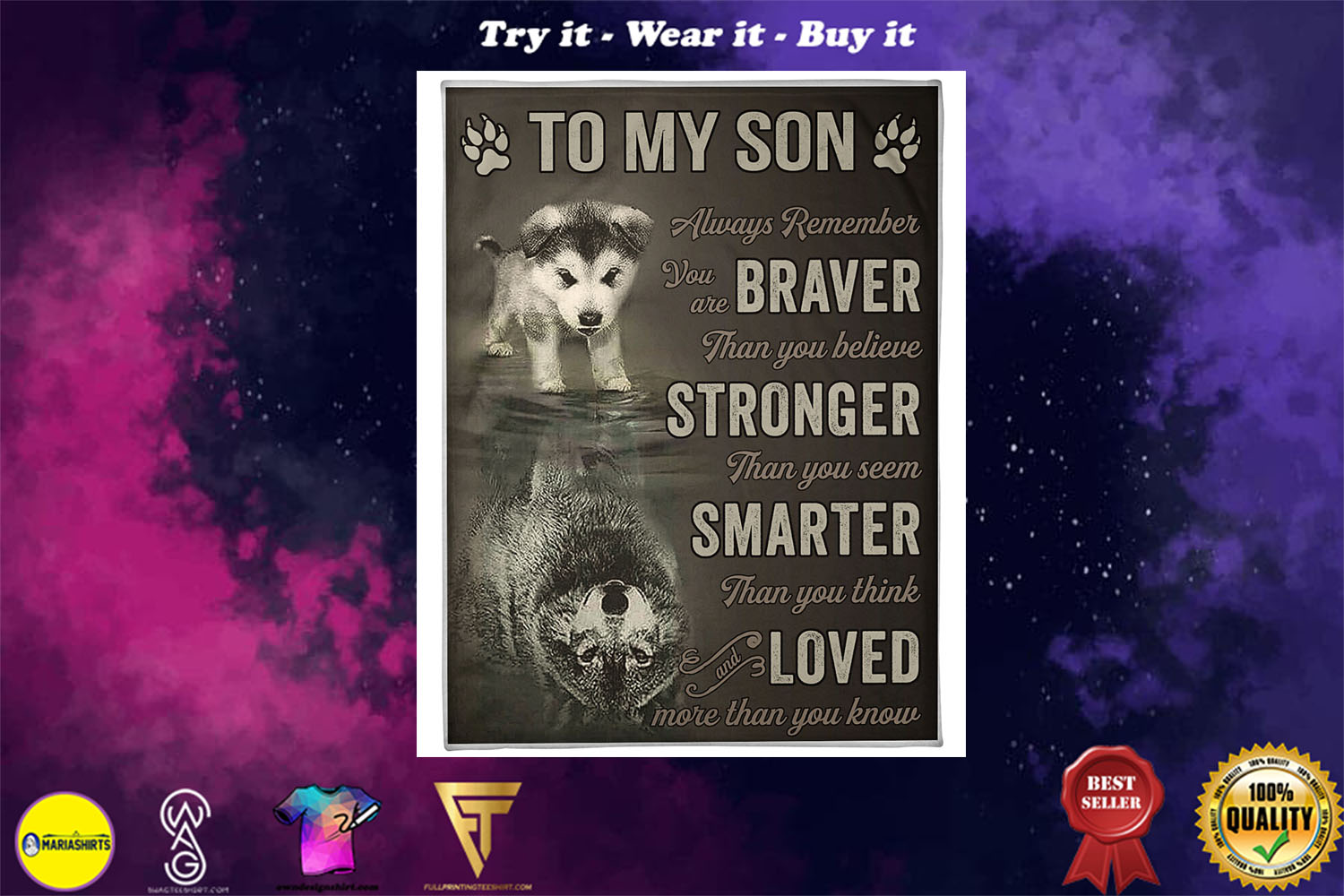 [special edition] wolf to my son always remember loved more than you know full printing blanket - maria