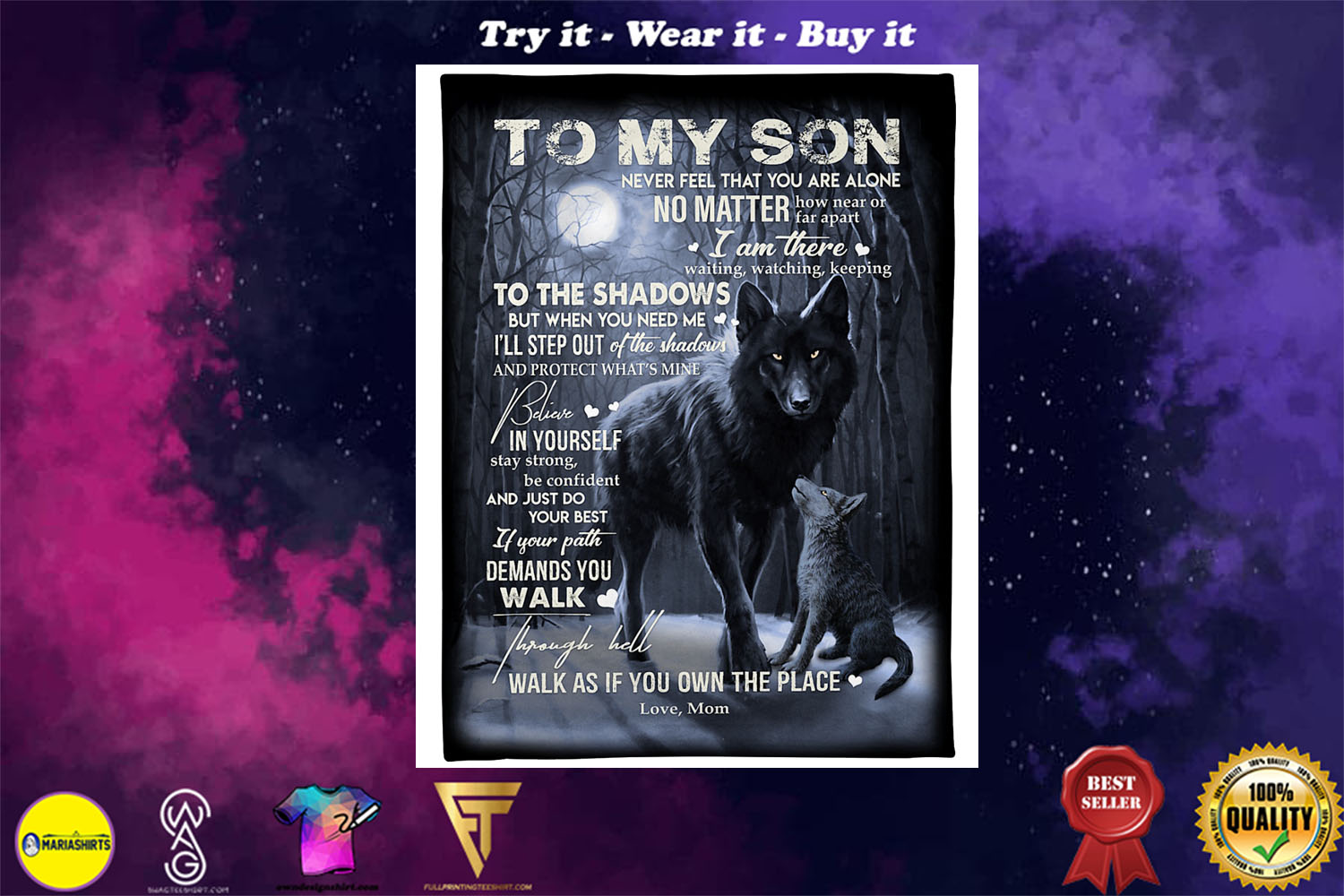 [special edition] wolf to my son walk as if you own the place love mom blanket - maria