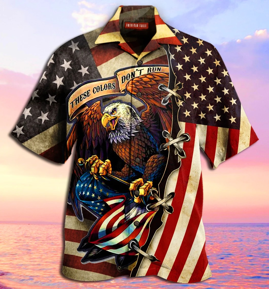 American Eagle Fly Flag Unisex Hawaiian Shirt front