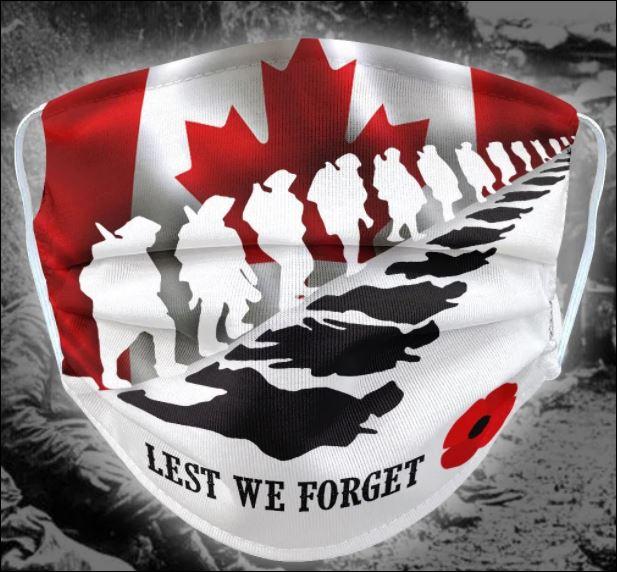 Canada flag lest we forget face mask