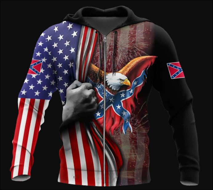 Confederate States of America 3D all over printed zip hoodie