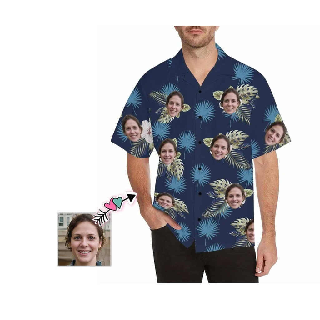 Custom face flower all over print hawaiian shirt