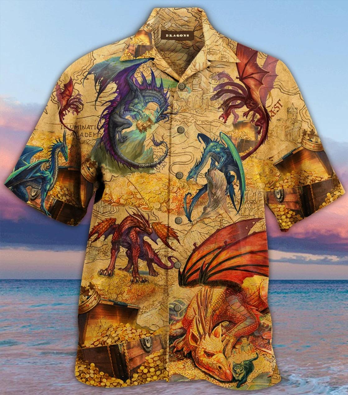 Every treasure is guarded by dragons unisex hawaiian shirt