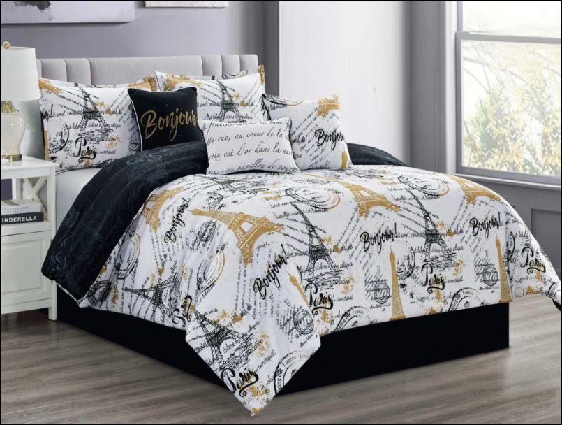 French black and white Eiffel Tower Bonjour bedding set