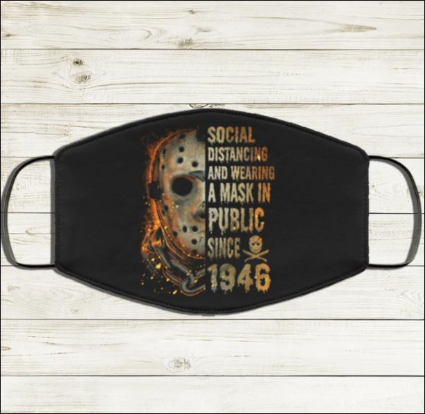 Halloween Jason Voorhees social distancing and wearing a mask in public since 1946 face mask