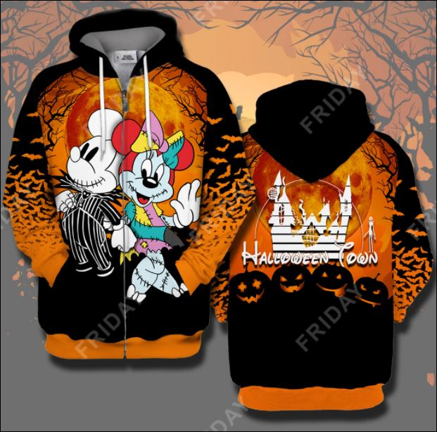 Halloween town Mickey mouse and Minnie mouse 3D all over printed zip hoodie