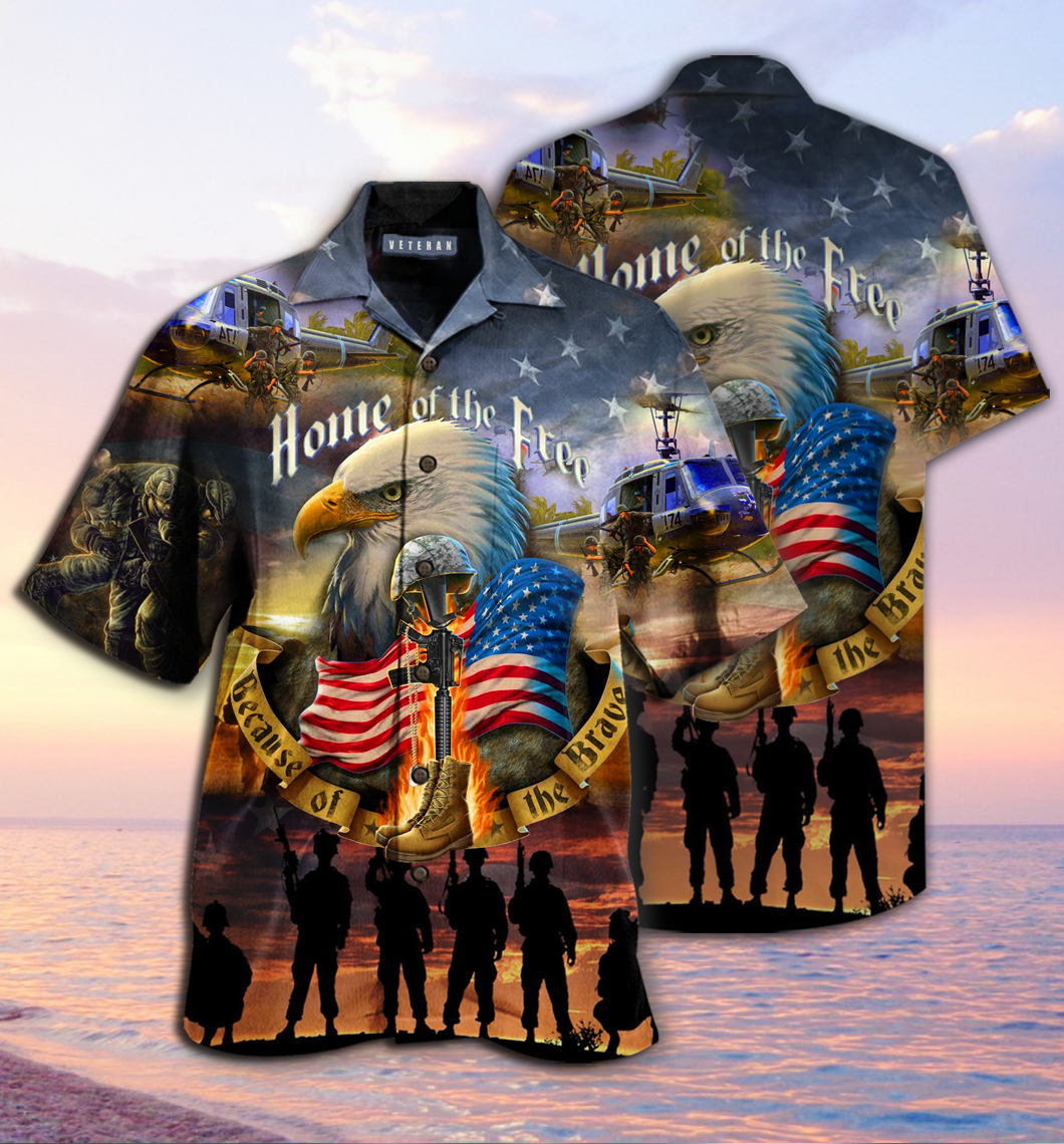 Home Of The Free Because Of The Brave Veterans hawaiian shirt