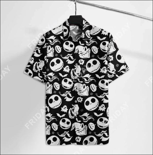 Jack Skellington black and white hawaiian shirt