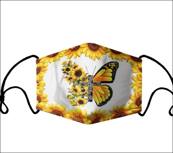 Jesus sunflower butterfly face mask