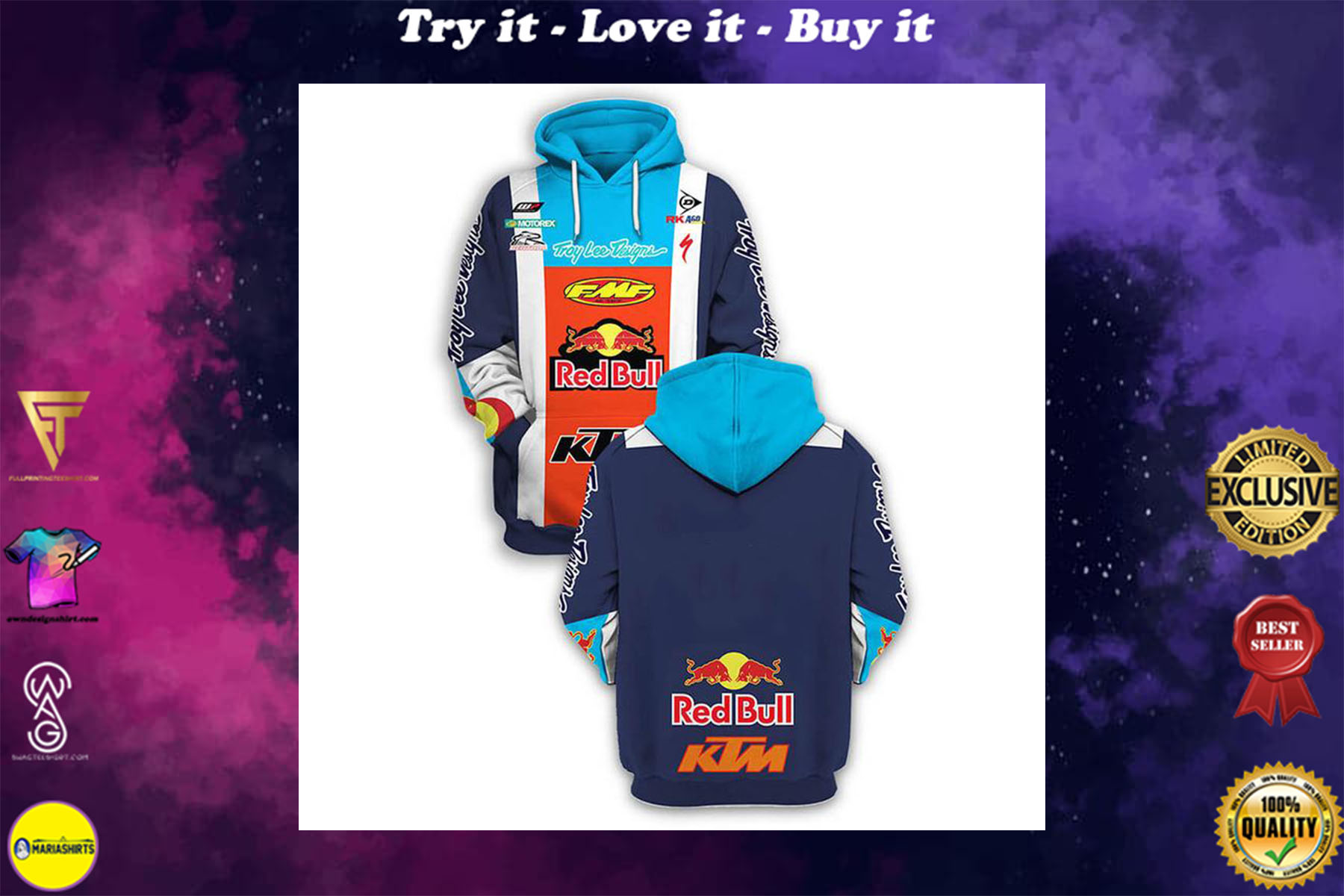 [special edition] KTM red bull troy lee designs full printing shirt - maria