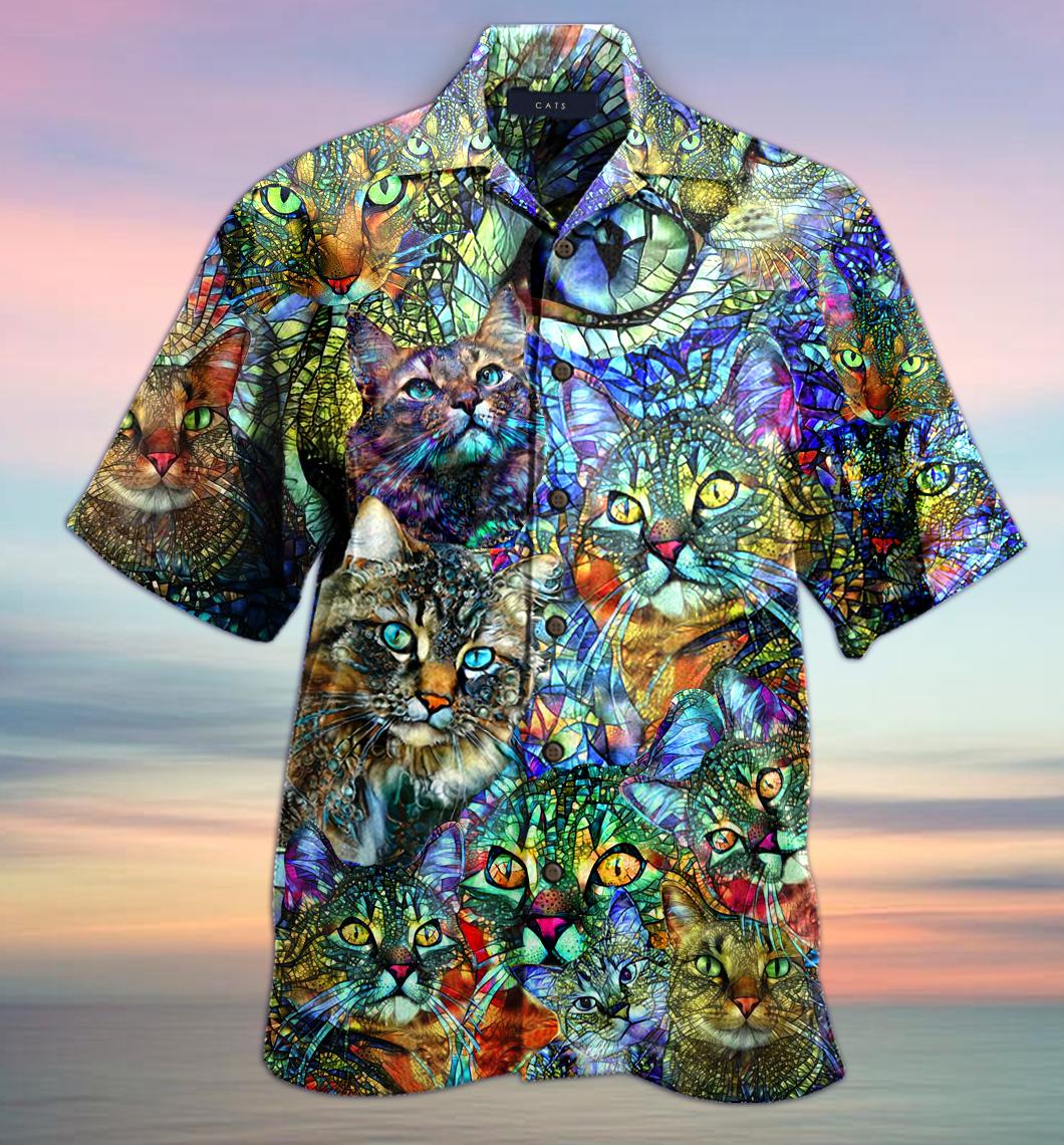 Kaleidoscope Cat Unisex Hawaiian Shirt