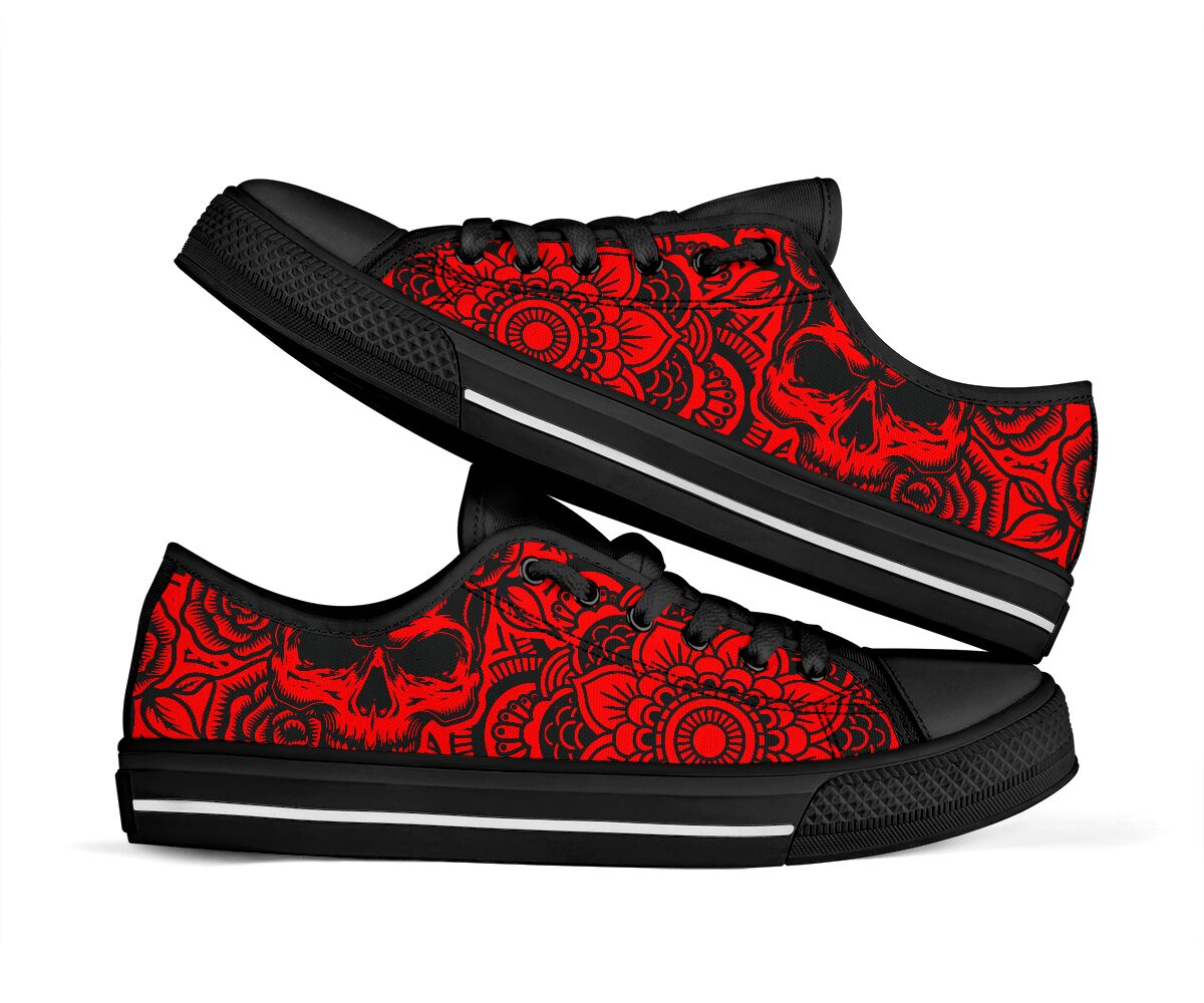 Mandala and skull inspired low top shoes 3