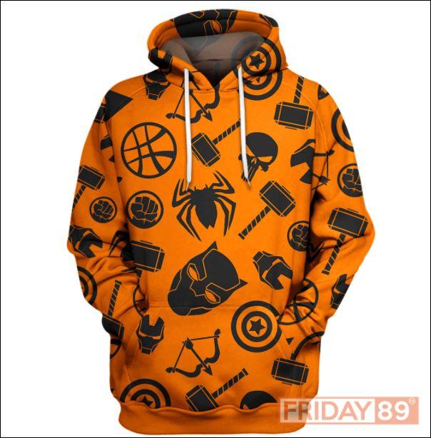 Marvel heroes symbol 3D all over printed hoodie