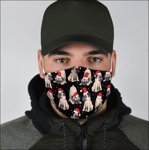 Merry Christmas pug face mask