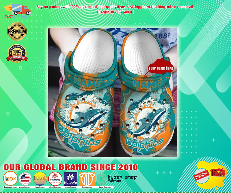 Miami Dolphins custom name crocs shoes  - LIMITED EDITION