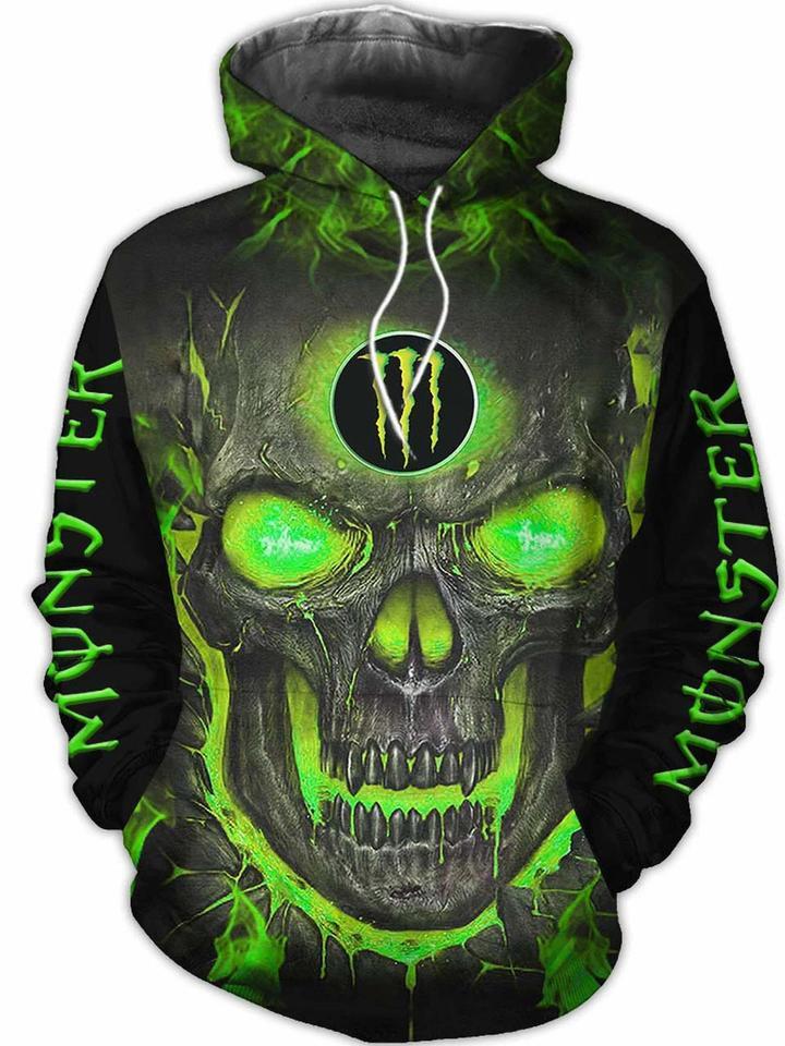 Monster energy halloween skull 3d all over print hoodie