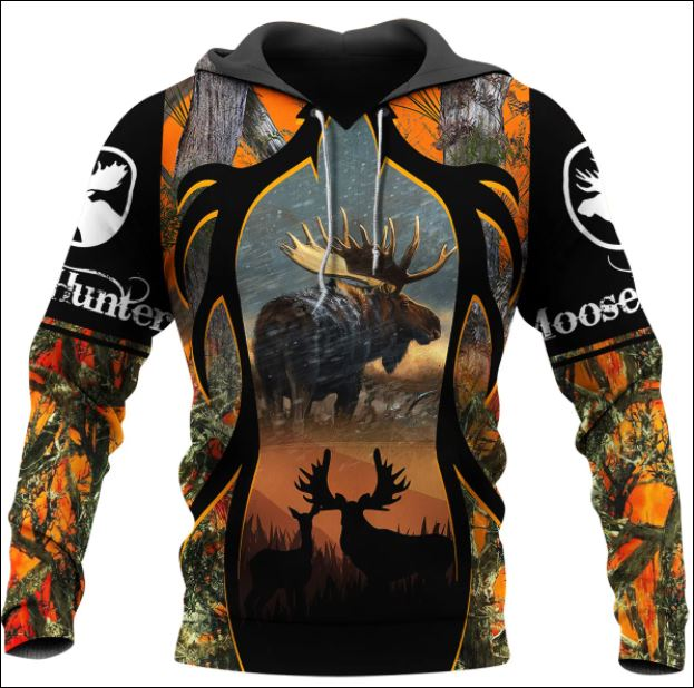 Moose hunting camo 3D all over printed hoodie