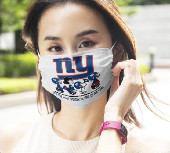 New York Giants Snoopy it's the most wonderful time of the year face mask
