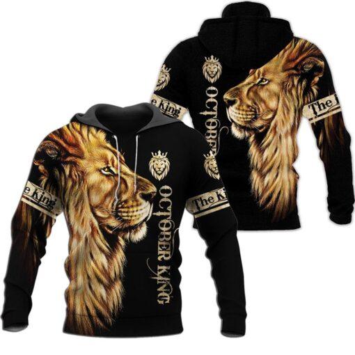 October king lion 3d hoodie