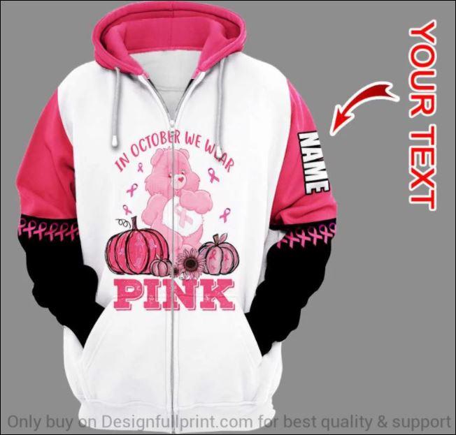 Personalized breast cancer awareness in october we wear pink 3D zip hoodie