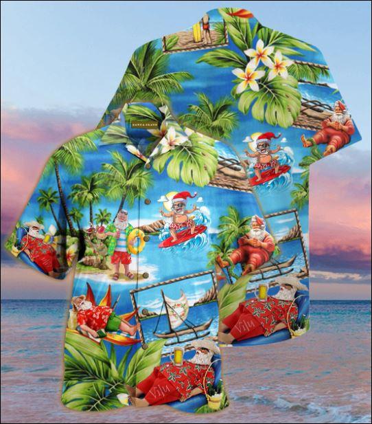 Santa Claus surfing hawaiian shirt