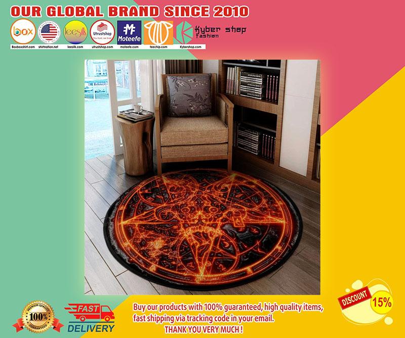 Sigil of fire baphomet round carpet1