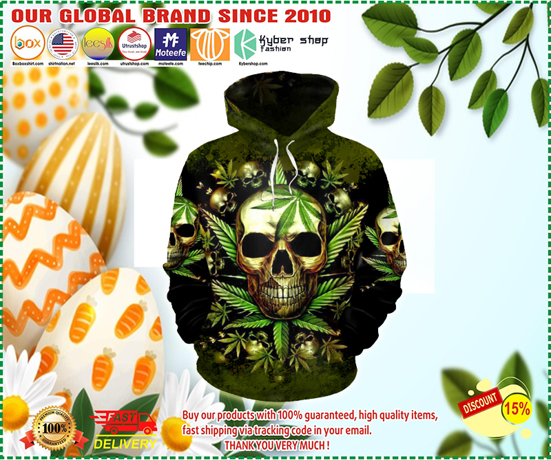 Skull King weedy in green hoodie 3D - LIMITED EDITION BBS
