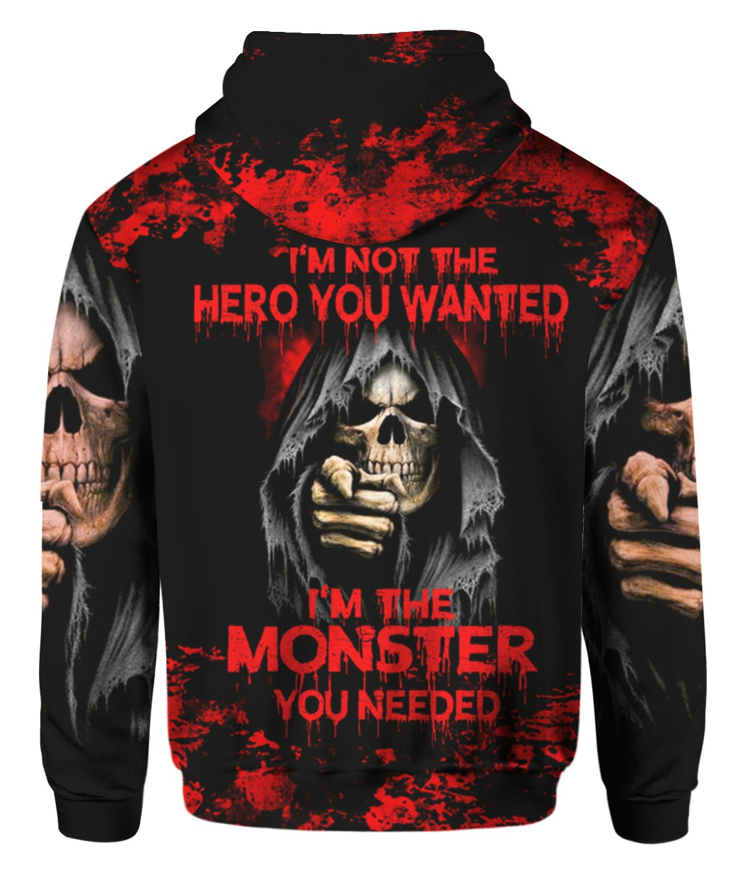 Skull i'm not the hero you wanted i'm the monster you needed 3d all over print hoodie, t-shirt 1